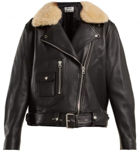 Acne Shearling collar leather biker jacket