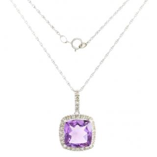 Bespoke 14k white gold 3.87 ct amethyst, 0.28 ct diamond necklace