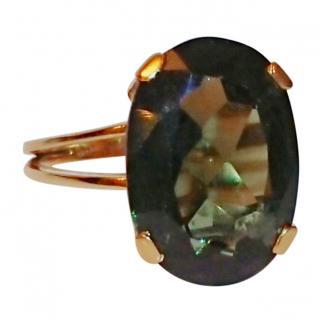 Bespoke Large Green Garnet Cocktail Ring 18ct Gold
