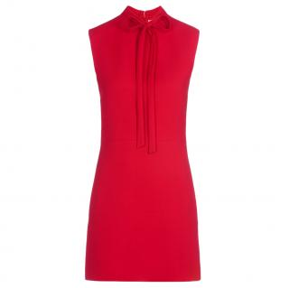 Valentino Red Sleeveless Tie-Neck Dress