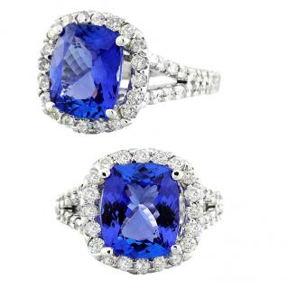 Bespoke 18K white gold with 3.92 ct tanzanite and diamond Ring
