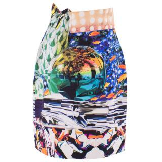 Mary Katrantzou Silk Digital Marine Print High-waist Skirt