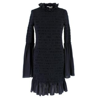 Stella McCartney Black Silk High Neck Midi Dress