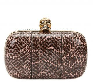 Alexander Mcqueen Black & Pink Python Leather Skull Box Clutch