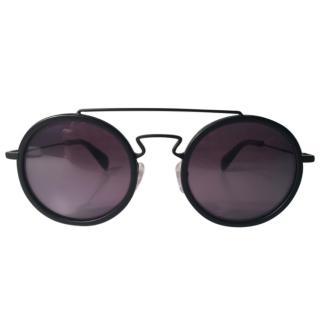 Yohji Yamamoto Men's Iconic Black Round Sunglasses