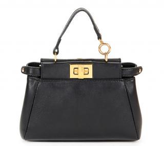 Fendi Black Lambskin Micro Peekaboo Bag