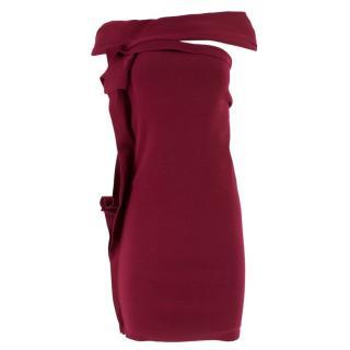 Lanvin Burgundy Ruffled Bardot Dress