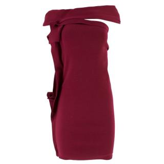 Lanvin Burgundy Ruffled Bardot Dress