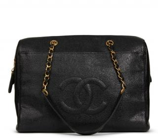 Chanel Black Caviar Leather Vintage Timeless Shoulder Bag