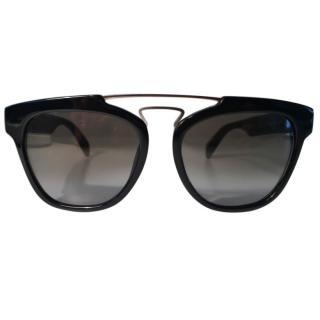 Yohji Yamamoto Black Double Bridge Sunglasses