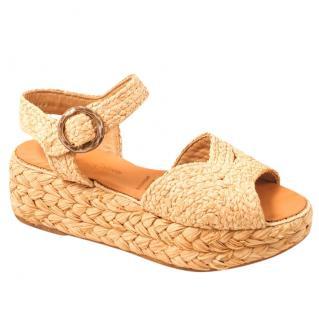 Robert Clergerie Platform Straw Sandals