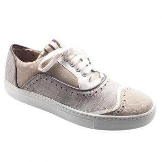 Pollini Suede & Croc Embossed Sneakers