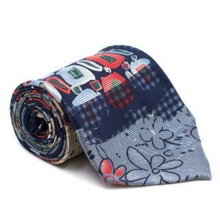 Goldlion Blue Abstract Pattern Silk Tie