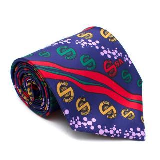 Vinuchi Blue Patterned Silk Tie