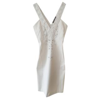 Roberto Cavalli white embroidered mini dress
