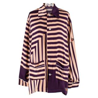 Katie Eary Men's Purple and Gold Striped Shirt