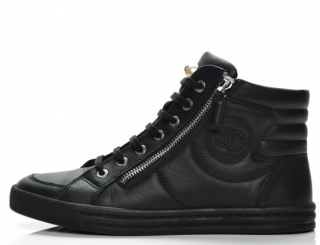 Chanel Black Calfskin Pearl CC High-top Trainers