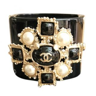 Chanel Resin Gripoix Cross Pearl Cuff