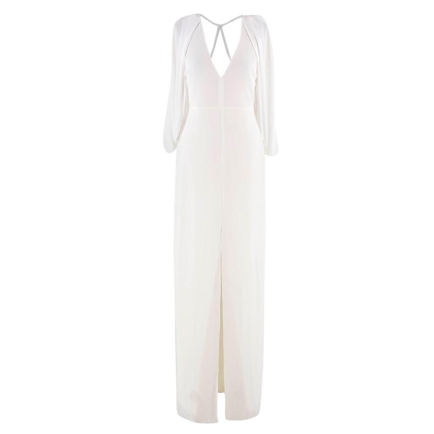 Halston Draped-back Embellished Chalk Gown