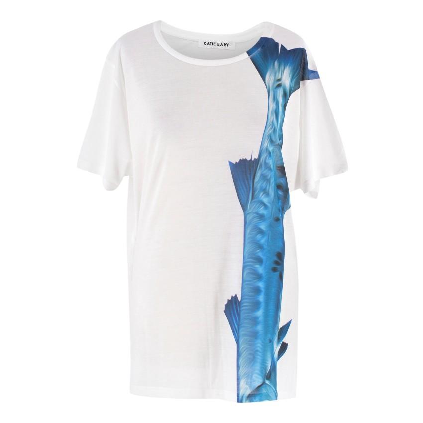 Katie Eary Barracuda Print White T-Shirt