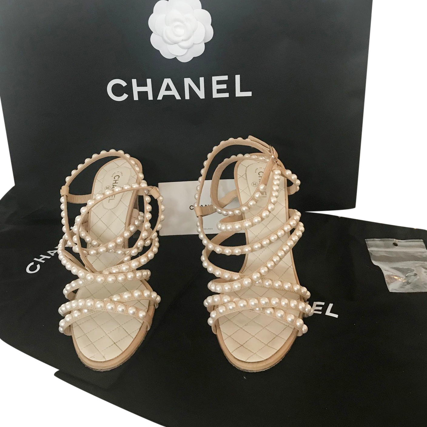 593abf7b51e Chanel Ss18 Crackled Leather Pearl Sandals