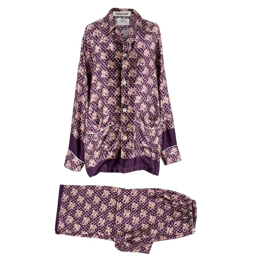 Katie Eary Purple Snake Print Pyjama Set  f1a9a6082