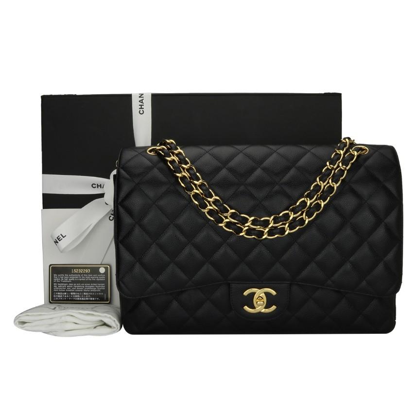 6c6e983a Chanel Maxi Black Caviar Classic Double Flap Bag