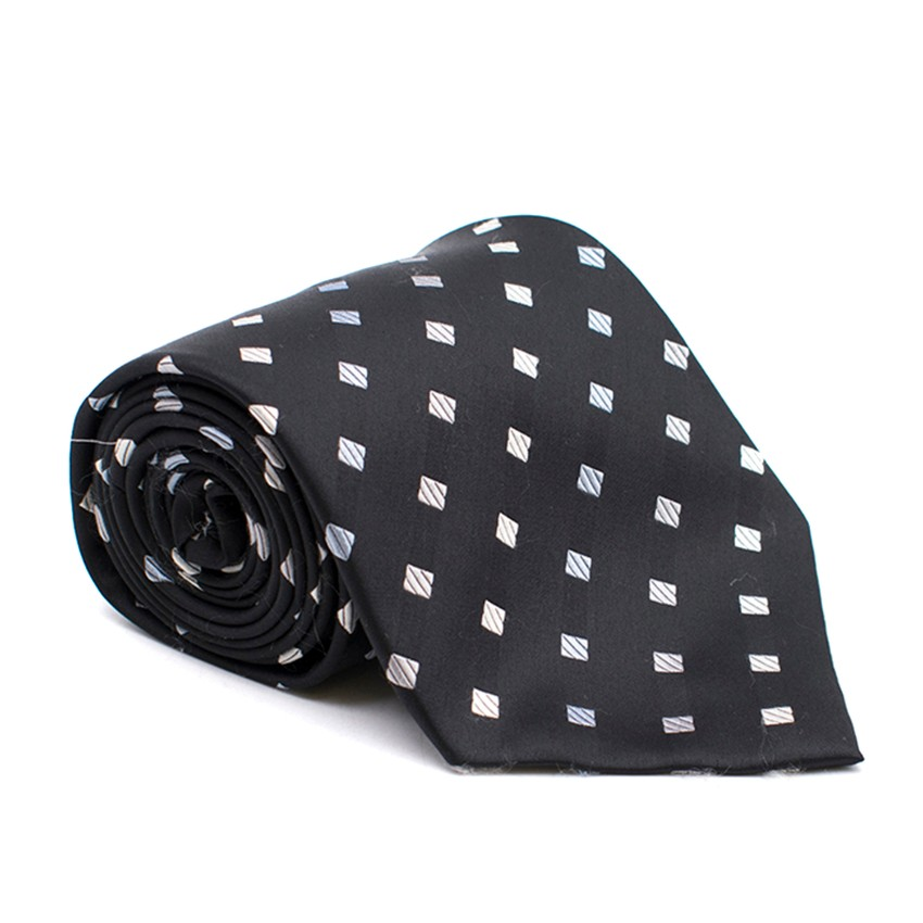 Milan Collection Black Silk Polka Dot Tie
