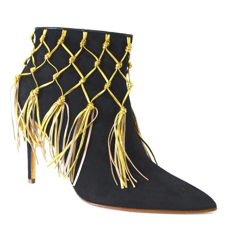 Rupert Sanderson Charisse Black Suede Heel Ankle Boots