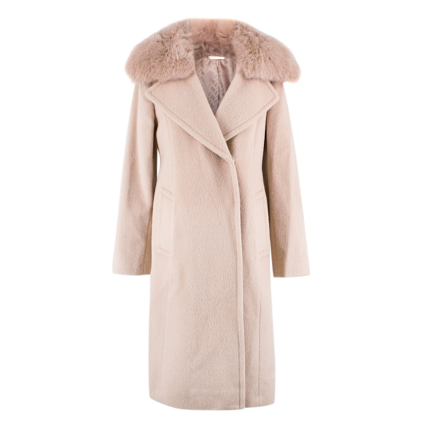 c64b354f6706 Diane Von Furstenberg Fox Fur Collar Wool Coat