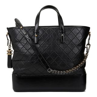 Chanel Black Aged & Smooth Calfskin Gabrielle Large Shopping Tote