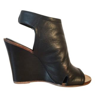 Rag & Bone 'Wembley' black leather wedge peep toes