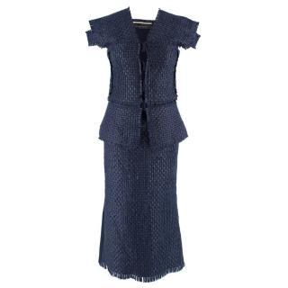 Roland Mouret Navy Lattice Woven Jacket and Skirt Set