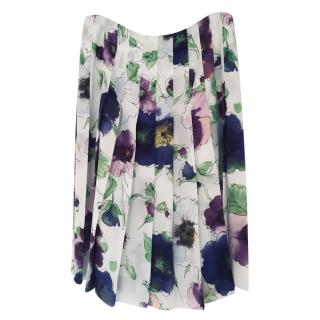 Emporio Armani ~ Ivory wide pleat skirt w/ Mauve/Pink/Green Floral pattern