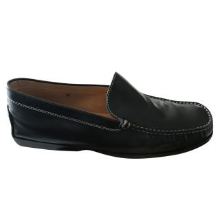 Tod's Mens Black Leather Loafers