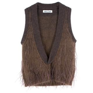 Katie Eary Men's Brown Wool Feathered Vest
