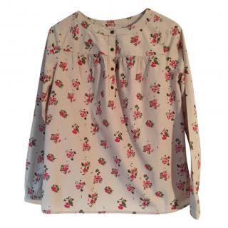 BONPOINT 100% cotton beige with rose & khaki floral print blouse.