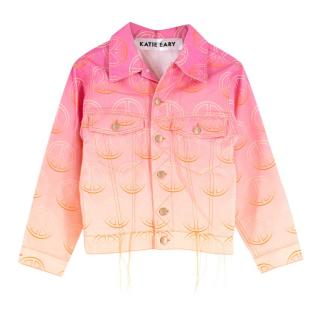 Katie Eary Men's Pink Ombre Peace Symbol Denim Jacket