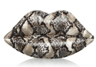 Lulu Guinness Python Print Lips Clutch Bag
