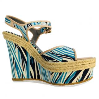 Mulberry Blue Printed Wedge Sandals