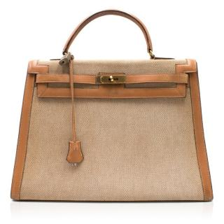 Hermes Barenia Leather & Canvas Vintage 35cm Kelly Bag