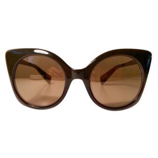 Yohji Yamamoto Brown Cat Eye Sunglasses