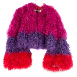 Katie Eary Striped Shearling Fur Cropped Jacket