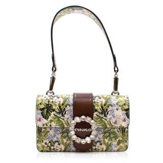 Pinko Green Floral Embellished Bag