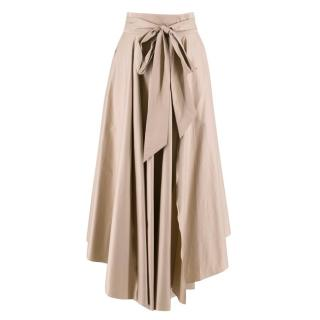 Tibi Nude Cotton Bow Midi Skirt