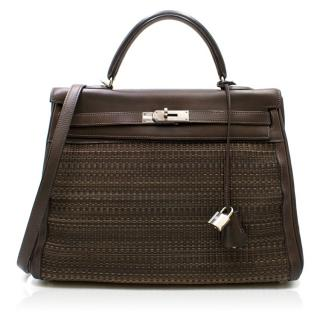 Hermes Brown Calfskin leather and horse hair 32cm Kelly Bag