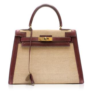 Hermes Box Leather & Canvas 28cm Vintage Kelly Retourne Bag
