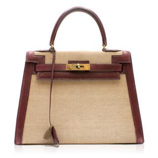 Hermes Box Leather & Canvas 28cm Vintage Kelly Retourne Bag