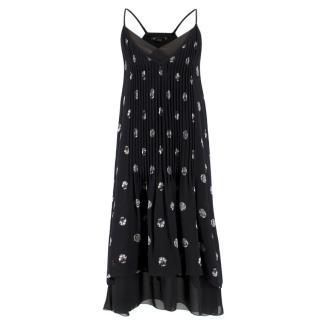 Club Monaco Silk Black Printed Pleated Dress