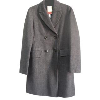 Loro Piana wool and cashmere checked double breasted coat